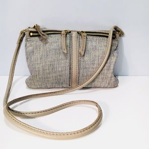 FOSSIL Handbag Taupe Leather Blue Material Purse